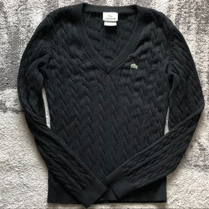 Black Cableknit V-Neck Sweater